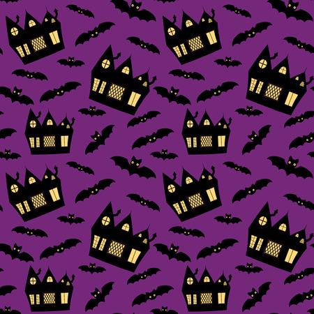 Vector naadloos patroon voor Halloween met spookhuisjes en vleermuizen op paarse achtergrond