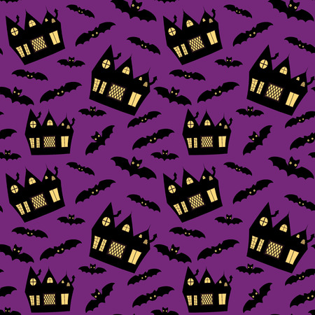 Vector seamless pattern for Halloween with haunted houses and bats on purple background Vectores