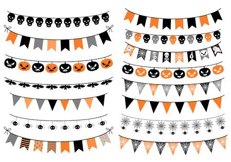 Vector conjunto con empavesados ??de Halloween en colores naranja, negro y gris con calabazas, arañas y calavera para tarjetas de felicitación, invitaciones y fondos Foto de archivo - 87041660