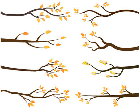 Vector autumn tree branch silhouettes with yellow leaves in flat style