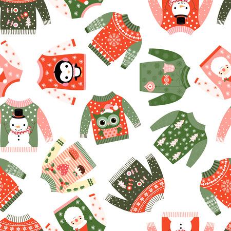 추한 재미와 귀여운 벡터 크리스마스 원활한 패턴 카와이 일러스트와 함께 스웨터 fortextile, 종이 포장 및 인사말 카드 일러스트
