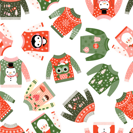 Cute vector Christmas seamless pattern with ugly fun sweaters with kawaii illustrations fortextile, paper wrapping and greeting cards Illustration