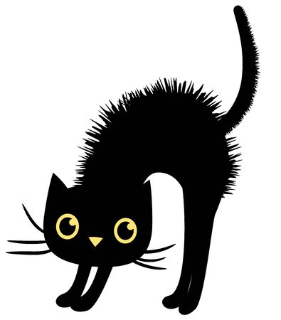 Black vector cat in flat style for Halloween designs