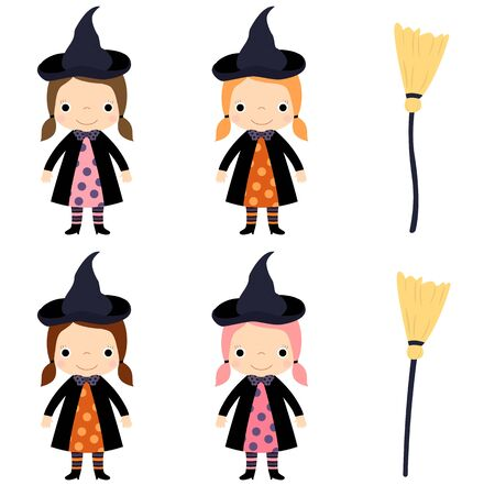 Cute vector little girl in witch costume with broom for Halloween designs