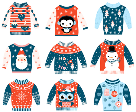Winter and Christmas vector ugly and cute sweaters in flat style in blue and red colors with owl Vettoriali