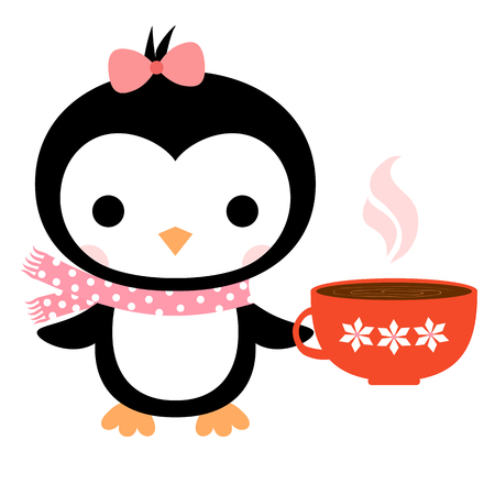 Cute vector greeting card with cartoon penguin with scarf and a cup of coffee