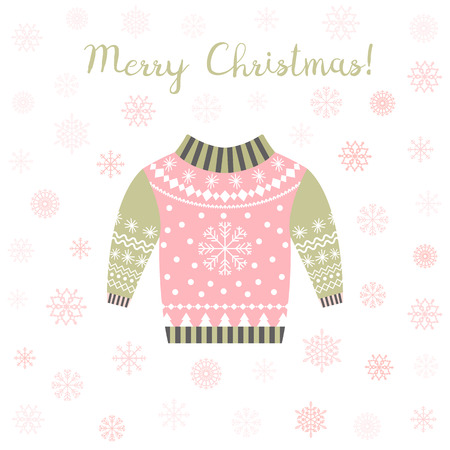 pink and green vector ugly christmas sweater greeting card or invitation with snowflakes stock vector - Pink Ugly Christmas Sweater
