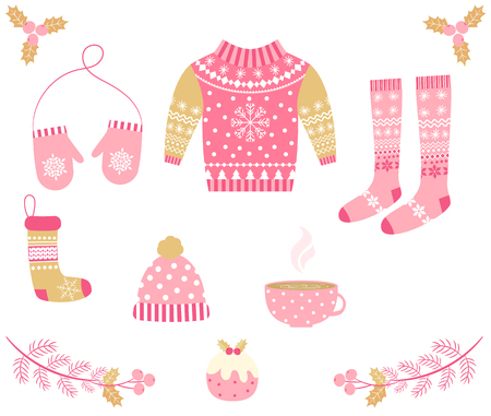 Cute vector set with warm winter clothes in pink and gold colors for greeting cards, invitations and holiday designs