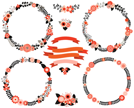 Black and red floral vector wreath borders with ribbons and flower bouquets for invitations, greeting cards and background designs. Illustration