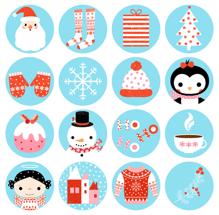 Cute vector winter round icons with Christmas symbols in blue circles for stickers. Illustration