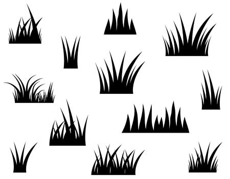 白い背景に黒いベクトル草のシルエット