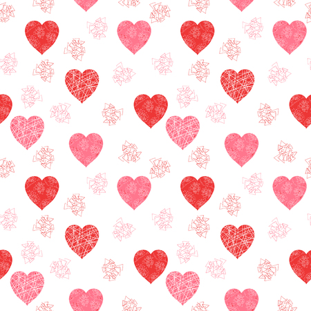 Cute and modern Valentines day vector pattern with hearts and abstract geometric elements