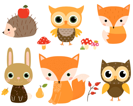 Cute vector set with woodland animals in flat style for children designs and greeting cards Çizim