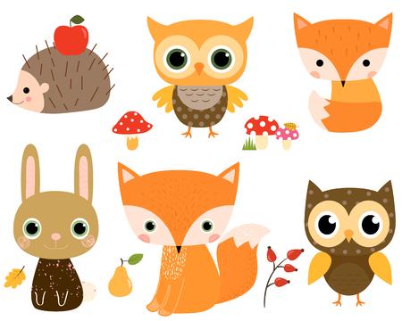 vector lindo conjunto con animales forestales en estilo plano para diseños de niños y tarjetas de felicitación Ilustración de vector