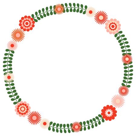 Couronne florale ronde avec des feuilles vertes et des fleurs roses et rouges Banque d'images - 94716408