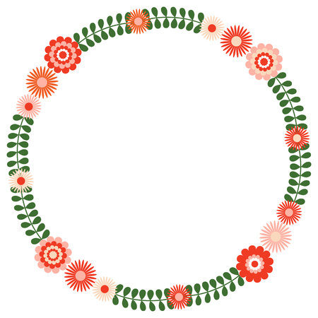 Round floral wreath with green leaves and pink and red flowers Stock Vector - 94716408