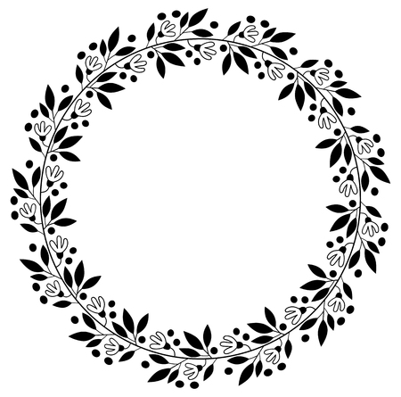 Black floral border for wedding invitations and graphic design  round vector flower wreath
