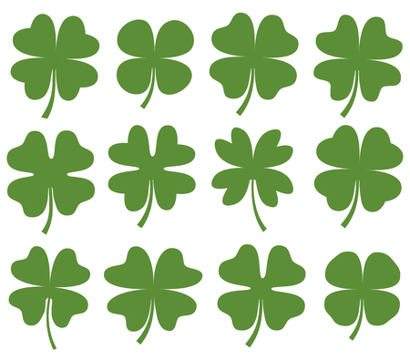 Set of green vector four leaf clover silhouette drawing for icons, cards and for Saint Patricks day designs Illustration