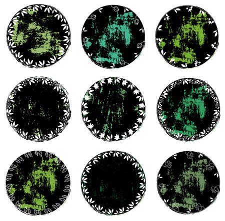 Round distressed vector floral labels or tags for healthy and natural products, cosmetics and food designs
