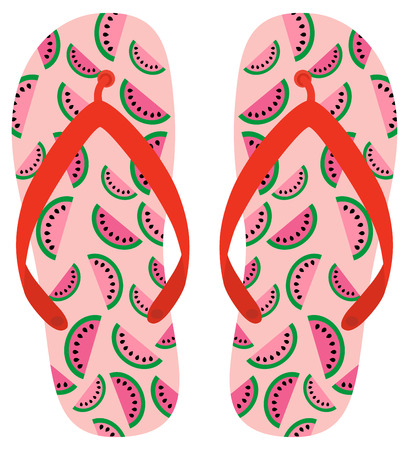Pink and red vector flip flops with watermelon pattern for beach holiday designs