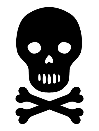 Vector black silhouette skull with bones icon in flat style