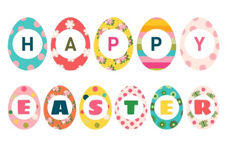 Colorful Easter eggs with text Happy Easter for greeting cards, invitations and brochure
