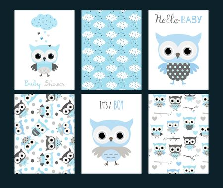 Vector baby shower invitation templates or greeting cards with cute owl animals in blue and grey colors for boys.