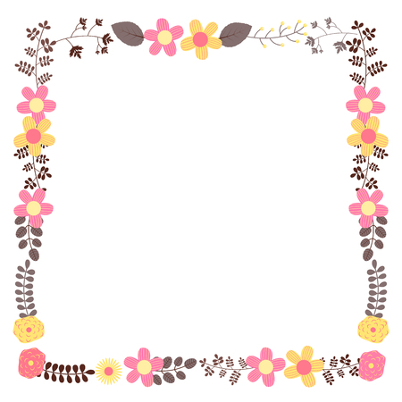Square vector floral frame template for wedding invitations and greeting cards in pink, brown and yellow colors with copy space Ilustração