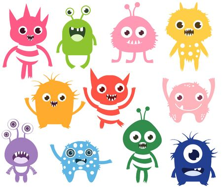 Cute and funny vector monsters or aliens in different colors. Colorful fun creatures for kids designs, fashion and greeting cards Illustration