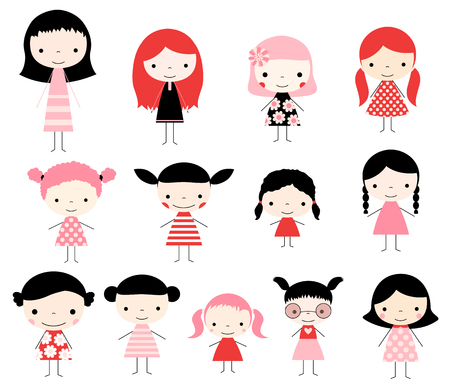 Cute set with vector stick figures. Cute girls in pink red and black colors for invitations and graphic design.