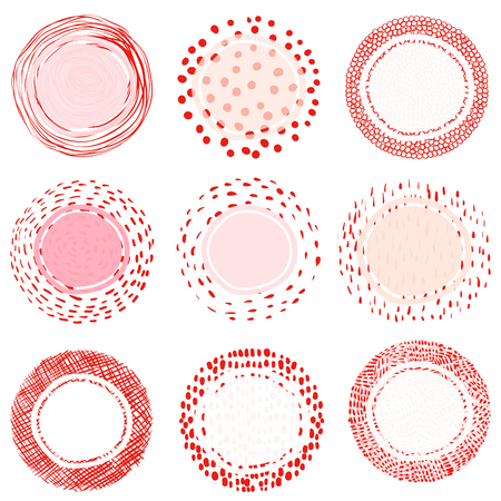 Elegant artistic vector labels or tags with lines, dots and scribbles for product packaging for food, cosmetic and health industry designs Illustration