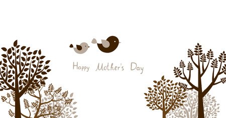 Cute greeting card or banner with trees and flying birds for Mothers day