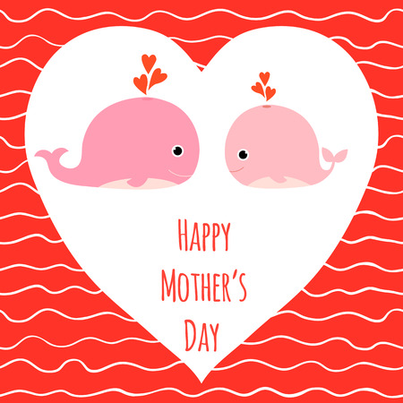 Vector greeting card for Mothers Day with cute pink whales with hearts and background with waves