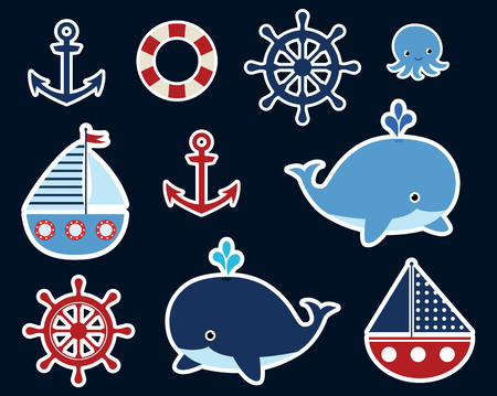 Nautical ocean set with cute vector stickers with whale, boat, helm and anchor for children designs and backgrounds