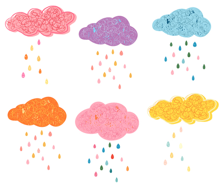 Cute vector clouds with colorful raindrops, textured artistic designs for children fashion and greeting cards