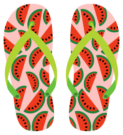 Pink, green and red vector flip flops with watermelon pattern for beach holiday designs, greeting card and banners