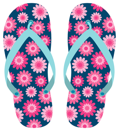 Blue flip flops with pink flower pattern for summer brochures, flyers and advertisements