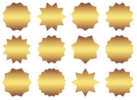 Set of vector gold starburst symbols. Sunburst empty labels or stickers for advertising, shop sales tags and promotions