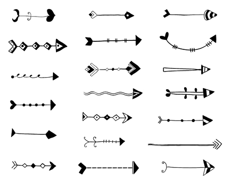 Black vector hand drawn arrows, doodle style icons for graphic design, invitations and greeting cards Illustration