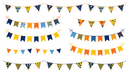 Festive and cheerful vector buntings with colorful flags with dots and stripes for kid birthdays, parties and other celebrations