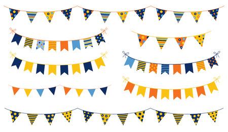 Festliche und fröhliche Vektorflaggen mit bunten Flaggen mit Punkten und Streifen für Kindergeburtstage, Partys und andere Feiern