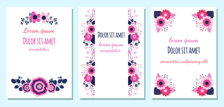 Floral wedding invitations or greeting cards with nlue, pink and violet flowers