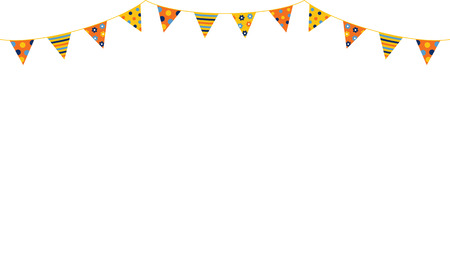 Festive and cheerful triangular bunting background with copy space for text