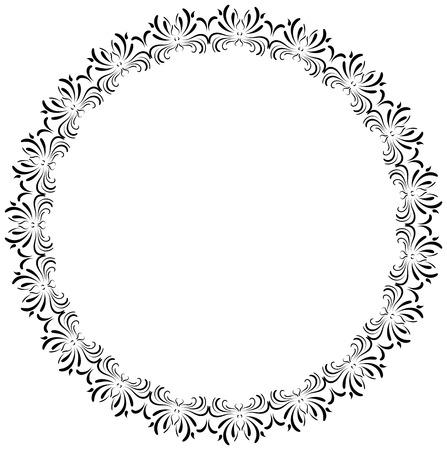 Round ornamental frame, romantic border silhouette