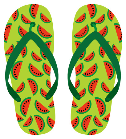 Green and red  sandal with watermelon pattern for beach holiday