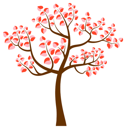 Tree with curvy branches and heart shaped leaves in pink and red colors Illustration