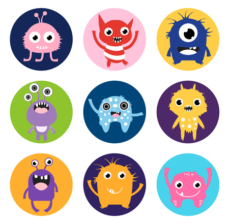 Cute monster stickers or labels, colorful circles with fun animal characters