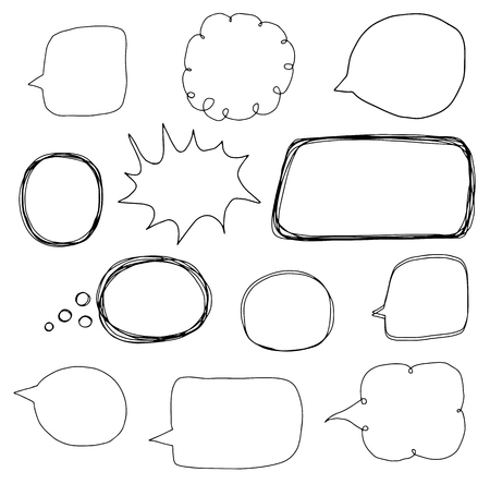 Hand drawn set with speech bubble outlines in doodle cartoon style Stock Illustratie