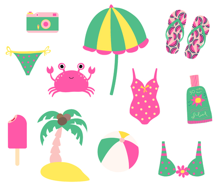 Cute summer set with beach design elements and characters Stock Illustratie