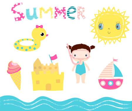 Cute summer set in pink, blue and yellow colors with beach elements children birthday parties and baby shower designs Illustration